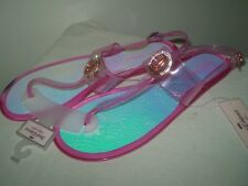d22b2a76a8b0 Nwt Juicy Couture Logo Clear Pink Jelly T-Strap Open Toe Flip Flops Sandals  10