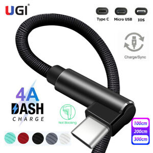4A Fast Charger 90° Elbow Micro USB C IOS 2.4A Data Cable For Samsung S20 iPhone