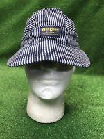 Vintage Oshkosh B Gosh Railroad Train Conductors Hat Cap Snapback Hickory Stripe