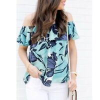 Anthropologie Maeve Top Blouse Womens Size Small Blue Floral Islander Ruffle