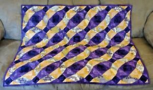 Quilt, Baby/Crib Blanket, Purple & Gold Waves, Hand-Made, One-of-a-Kind, NEW