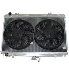 CXRacing 2 ROW ALUMINUM RADIATOR+FANS+CAP For 89-94 240SX S13 KA24DE