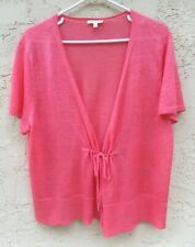 """❤~EILEEN FISHER sz 1X """"100% LINEN"""" CORAL PINK S/S CARDIGAN SWEATER~ 48"""" BUST"""