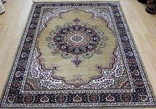 Traditional Persian Medallion Oriental Silk Like Rug  gold & blue floor carpet