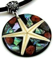 Paua Abalone Shell Red Coral Starfish Pendant Beads Necklace Women Jewelry GA309