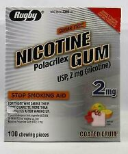Rugby Nicotine Polacrilex Gum 2 mg Stop Smoking Aid Coated Fruit 100 Ct (4-Pack)