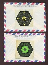 CZECHOSLOVAKIA AIRMAILS SKODA SEALS to USA...2 DIFFERENT ADVERTISING 1988-89
