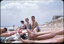Feet and Legs in Foreground Guys Girls Swimsuits Beach Vintage 1950s Slide Photo