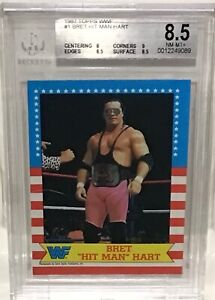 1987 WWF Topps Bret Hit Man Hart Rookie Card #1 In The Set BGS 8.5 NM To Mint