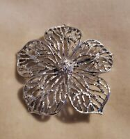 Vintage Gerry's flower floral openwork silvertone brooch pin
