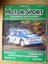 Motor Sport Magazine-Bentley Again To John O'Groats, January 1986,Vol.Lxii, No.1