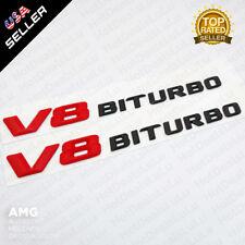 ABS Red V8 Black BITURBO Side Fender Logo Nameplate Emblem AMG Decoration 2pcs