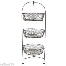 "Standing 3-Tier 32"" Wire Metal Basket Fruit Vegetable Kitchen Holder Apples"