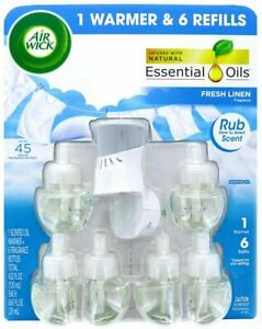 Air Wick Scented Oil Air Freshener - 6 Refills Plus Warmer (Fresh Linen)