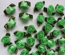 "7/8"" Lt. Green Swirl Satin Ribbon Roses Flower w/Leaf -Lots 30 pcs (R0048G)"