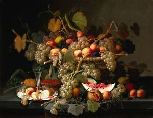 "Severin Roesen : ""Still Life with Fruit"" (1852) — Giclee Fine Art Print"
