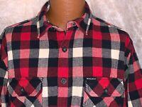 Woolrich Shirt Men's XL Black White Red Vtg Check Plaid Flannel Button Down Euc