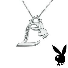 Playboy Necklace Silver Pendant w Chain Bunny Charm Swarovski Crystal Letter L