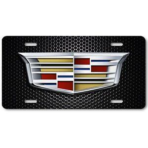 Cadillac Simple Logo on Black Mesh Aluminum Novelty Art Auto License Tag Plate