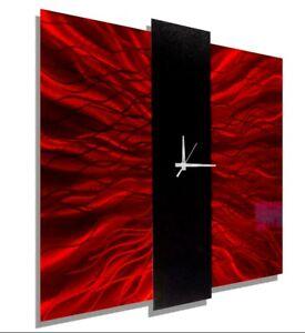 DYNAMIC RED BLACK Metal Wall Clock Large Modern ART CLOCK Decor by Jon Allen