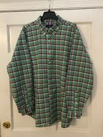 Men's Ralph Lauren Button Down Shirt, 3XB/Big, Green/Blue/pink Plaid Oxford Clth