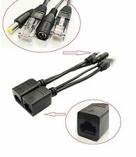 10x Power over Ethernet PoE Adapter Injector+Splitter Kit PoE Cable Black