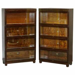PAIR OF CIRCA 1900 OAK MODULAR GLOBE WERNICKE ANTIQUE STACKING LEGAL BOOKCASES