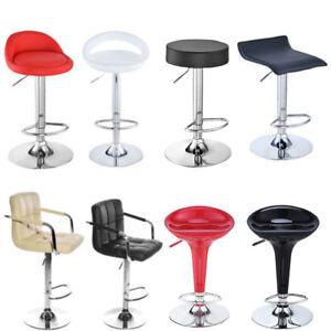 2 Bar Stools Gas Lift Breakfast Bar Chair Kitchen Pub Stool Faux Leather Chrome