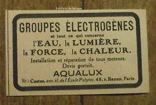 Publicité AQUALUX groupe electrogéne   1921, advert