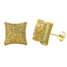 Bling Bling Earrings IcedOut Ear Jewelry Hip Hop Puffed Kite Gold Canary Cz