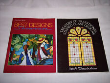 2 TERRIFIC STAINED GLASS PATTERN BOOKS - ADVANCED PROJECTS; RANGE OF DESIGNS