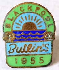 More details for butlins holiday camp badge - blackpool 1955 rising sun/green labels.