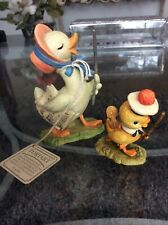 Anri Toriart Duck Music Teacher & Baby Duck With Violin & Bow 2 Pcs Htf Perfect!