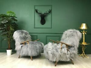 Vintage Art Deco Grey Fluffy Furry Sheepskin Bentwood Armchairs Chairs set of 2