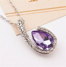 Fashion simple Water drop With purple Crystal Silver Pendant Necklace Jewelry