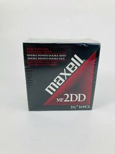 "Maxell Micro Floppy Disc Double Density Double Sided MF2DD 3 1/2"" 10pcs New"