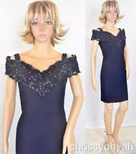 VTG Mini Black Off Shoulder Lace Glitter Chips Shawl Collar Cocktail Party Dress