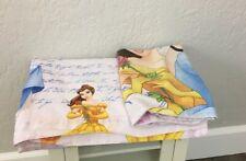 Disney Princess Twin Flat Sheet Pillow Case Cinderella Bella Cotton Blend Pink