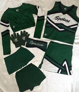 Green Spartans Youth Cheerleading Uniform Mixed Lot