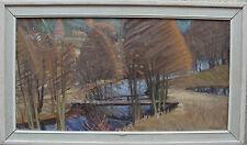 Gunnar Svensson 1906-1988, Herbstwald mit Bach und Steg, verso dat 1964
