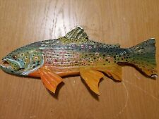 Fish Carvings for 2020, Right face Brown Trout, New painting detail, 12 in.