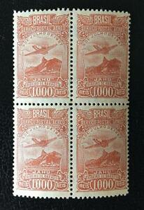 BRAZIL.1929. A.MAIL.1000R. PERF.11 PALE BROWN MNH BLOCK OF 4.RHM#A-21Aa.2400 US$