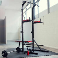 STATION DE MUSCULATION EXERCICES BANC MULTIFONCTION DIPS BARRE TRACTION HALTERE