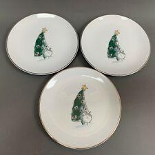 Eddie Bauer Salad Plates Snowman Snowmen Platinum Trim White 8 1/4 Lot of 3