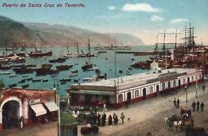 VINTAGE Ships in Port of Santa Cruz, Puerto de Santa Cruz de Tenerife POSTCARD