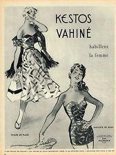 PUBLICITE ADVERTISING 124  1953  KESTOS VAHINE   tenues de plage maillot de bain