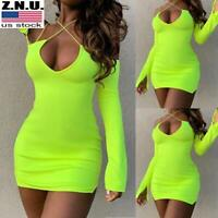 Women's Cross Straps Deep V Bodycon Mini Dress Sexy Long Sleeve Party Clubwear