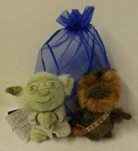 Star Wars - Chewbacca & Yoda plush bag charms - new with tags - in blue gift bag
