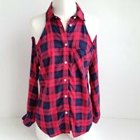 Seven Sisters Button Up Cold Shoulder Shirt Womens S Roll Tab Sleeve Plaid - NEW