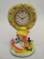 Vintage TRADITION Ceramic Girl Tree Animal Windup Alarm Clock Made In Japan Rare